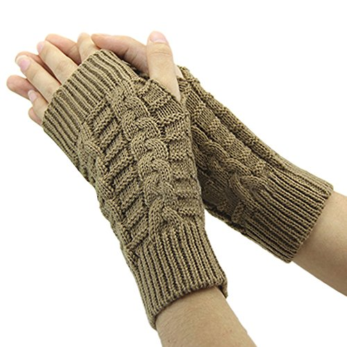 Bluelans® Strick Armstulpen Pulswärmer fingerlos Handschuhe Damenhandschuhe Winterhandschuhe Fäustlinge Fausthandschuhe, Camel, One Size