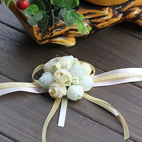 Reinigungstuch Tiny Rose Buds Stretch-Armband Handgelenk Corsage Hand Künstliche Blumen für Hochzeit Decor Party Abschlussball champagnerfarben
