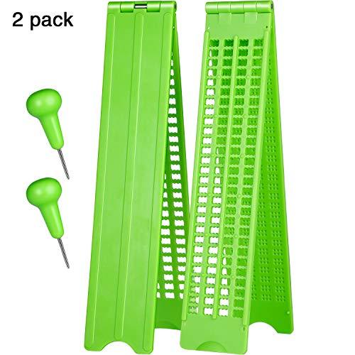 4 Zeilen 28 Zellen Braille Schiefer Braille Schreiben Schiefer Kunststoff Braille Schiefer Kit, Grün(2 Set)