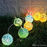 Fancy Colorful 10 Balls String With Warm White LED Light For Indoor Home Decoration Diwali Wedding Christmas Festival Decoration