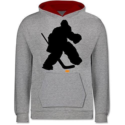 Sport Kind - Eishockeytorwart Towart Eishockey - 9-11 Jahre (140) - Grau meliert/Rot - JH003K - Kinder Kontrast Hoodie