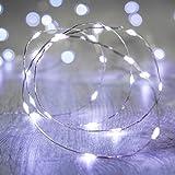 20 MicroLED bianchi a pile su cavo argento di Lights4fun