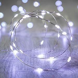 Lights4fun - Filo di 50 Micro LED Bianco Freddo a Pile su Cavo Metallico Argento