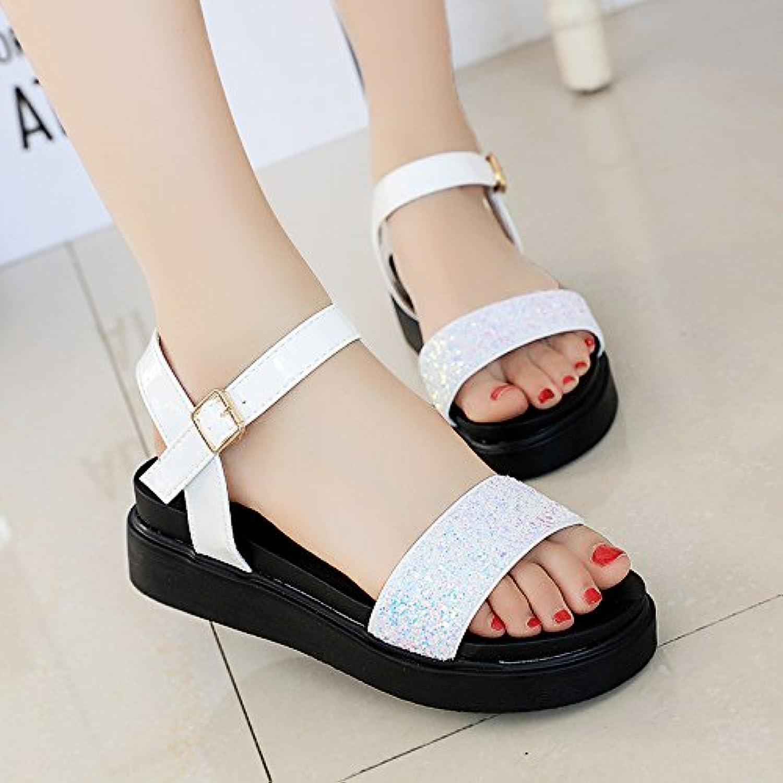LIUYENIU Señoras sandalias planas de verano/sandalias sandalias o chanclas o sandalias/Womens Sandals,35,Blanco