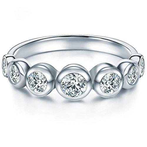 Tresor 1934 Damen-Memoirering Sterling Silber Zirkonia weiß im Brillantschliff - Verlobungsring Silberring Damen mit Stein Trauring