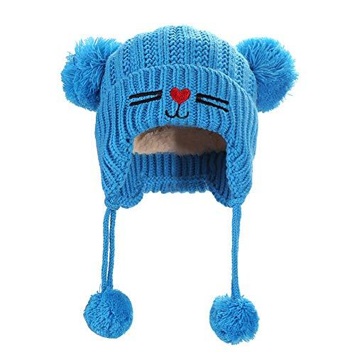 Transer Enfants Chapeau d hiver Tricoté Mignon Chat Double Balle Beanie  Bonnet Crochet Hiver pour 1a7bed668c9