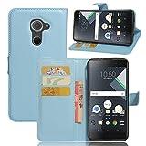 Wrcibo Blackberry DTEK 60 Hülle, Wrcibo Flip Case Cover PU Schutzhülle Tasche Leder Brieftasche Hülle mit Magnetverschluss und Karte Halter für Blackberry DTEK 60 (Blau)