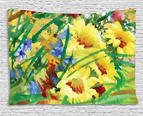 VTXWL Fine Art Tapestry, Watercolor Flower Field Summer Bouquet Vintage Brushstroke Spring Inspirations, Wall Hanging for Bedroom Living Room Dorm, 80 W X 60 L Inches, Multicolor - Fine Art Tapestry Wall Hanging