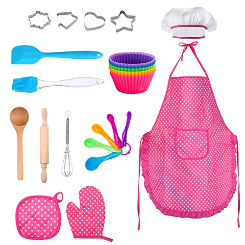 FUQUN Kids Chef Role Play Costume Set , Toddler Cooking and Baking Set with Apron, Chef Hat, , Cooking Mitt, Utensils for Boys and Girls Ages 3+ (24 Pcs)