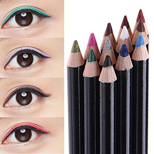 Cosmetic Lip Liner Sourcils Eyeliner Pen Crayon Maquillage des yeux Liner 12 couleurs (couleurs)