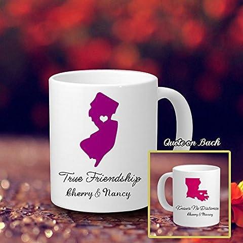 Geschenk Ideen Kaffee Tasse für Freunde Personalisierte Kaffee Thermobecher 313ml Kitchen Decor True Freundschaft Kennt Keine Abstand Kaffeebecher aus Keramik mit Name rosa Tasse für Freunde