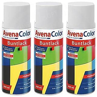 3 x Avena Color 2in1 Buntlack Spraydose Lackspray Weiß