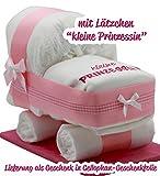 """Windeltorte / Windelwagen rosa für Mädchen - mit Lätzchen """"kleine Prinzessin"""" - das perfekte Geschenk zur Geburt oder Taufe!"""