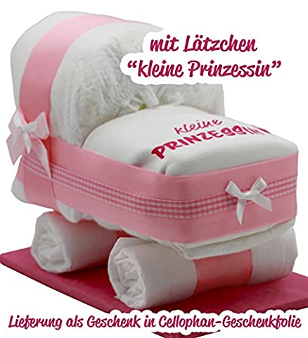 Kleine Windeltorte / Windelwagen rosa für Mädchen - mit Lätzchen