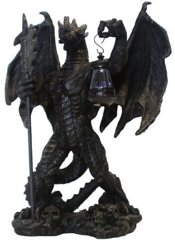und LED Laterne Drachenfigur Dekoration Mystic Gothic Tischlampe Zimmerlampe Dekoration ()