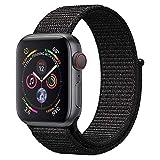 ANBEY für Apple Watch Armband 38mm 40mm 42mm 44mm, Geeignet für iWatch Apple Watch Serie 4, Serie 3, Serie 2, Serie 1, Nylon Sportschlaufenband Ersatzarmband Bright Black 42/44mm