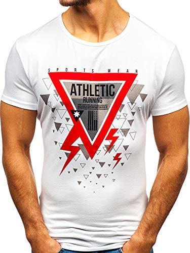 BOLF Herren T-Shirt mit Rundhalsausschnitt Print Aufdruck Täglicher Stil J.Style KY08 Weiß S [3C3] | 05902646979397