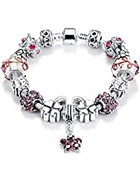 Wearyourfashion Antique Silver Plated Pink Flower Charms Bracelet For Women/Girls