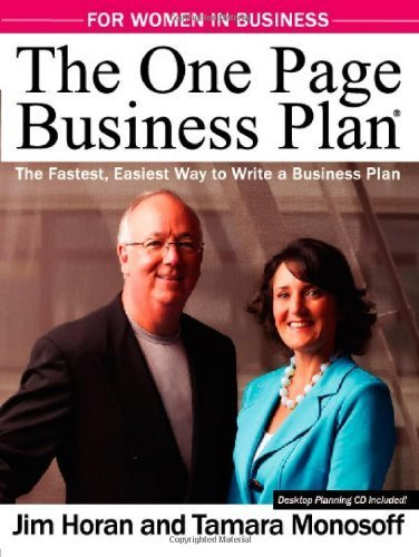The One Page Business Plan for Women in Business by Jim Horan, Tamara Monosoff (2010) Paperback par Tamara Monosoff Jim Horan