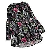 VEMOW Sommer Herbst Elegante Damen Plus Größe Dot Print Lose Baumwolle Casual Täglichen Party Strandurlaub Kurzarm Shirt Vintage Bluse Pulli(Y7-Blau, EU-44/CN-2XL)