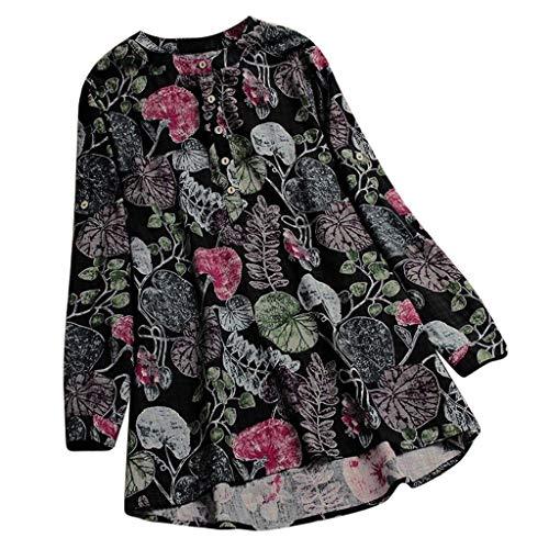 VEMOW Sommer Herbst Elegante Damen Plus Größe Dot Print Lose Baumwolle Casual Täglichen Party Strandurlaub Kurzarm Shirt Vintage Bluse Pulli(Y7-Blau, EU-50/CN-5XL)