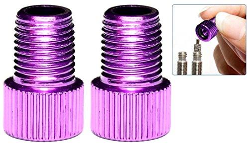 PRESKIN – 2 er Set Ventil-Adapter Fahrrad-Ventil auf Auto-Ventil mit Dichtring SV AV DV | auch optisch ein Highlight (Fahrrad-reifen-ventil-adapter)