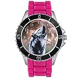 Timest - Lobo - Unisex Reloj con Correa de Silicona rosa Analógico Cuarzo CSE073pi