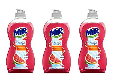 Mir Liquide Vaisselle Main Secrets de Vinaigre Pamplemousse Flacon 500 ml - Lot de 3