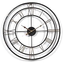 IVansa Wanduhr Groß XXL, 24Zoll (60cm) Metall Vintage Lautlos Uhr Wanduhr  Wall Clock