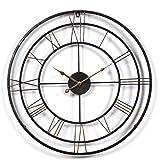 iVansa Wanduhr Groß XXL, 24Zoll (60cm) Metall Vintage Lautlos Uhr Wanduhr Wall Clock Ohne Tickgeräusche Haus Dekoration für Küche Wohnzimmer