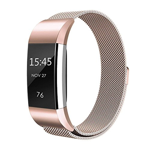 Fitbit Charge 2 Strap ,Teorder Adjustable Stainless Steel Milanese Metal Bracelet Accessory Replacement Wrist bands for Fitbit Charge 2,Large & Small