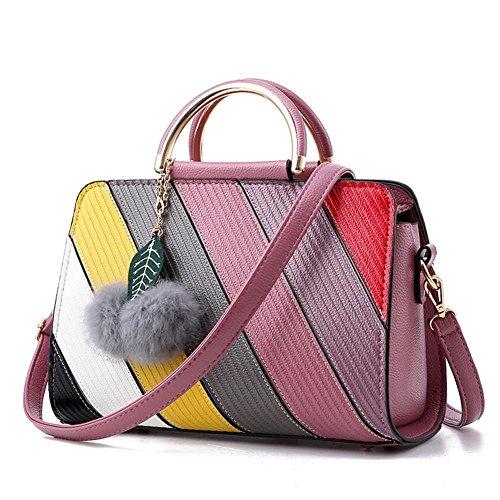 LDMB Damen-handtaschen PU-lederne süße Dame Schulter-Kurier-Handtasche OL Pendler-prägeartige Einkaufstasche rubber powder