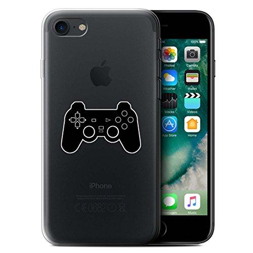 Stuff4 Gel TPU Hülle / Case für Apple iPhone 7 / Schwarz SNES Muster / Spielsteuerung Kollektion Schwarz PS1/PS2/PS3