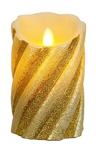 """Star LED-Wachskerze""""Twinkle Flame"""" gedrehte Struktur mit beweglicher Flamme, batterie betrieben Sichtkarton, 13 x 8 cm, gold 068-76"""