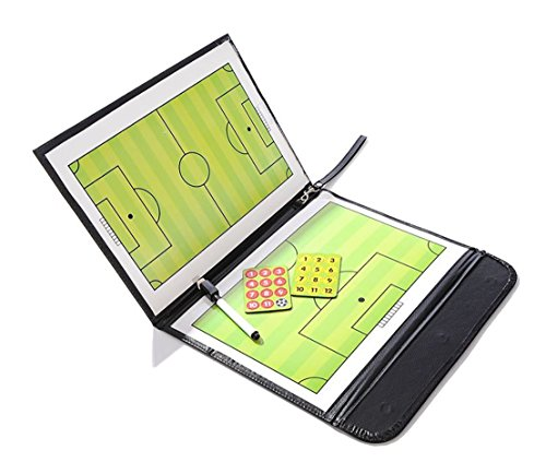 Preisvergleich Produktbild odowalker Soccer Fußball Trainer Taktiktafel trainieren assisitant Equipments Strategie Hilfe,  PU Cover mit Marker Stücke und write-wipe Pen