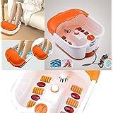 Amazingshop Heated Bath, Automatic Massage Rollers, Vibration, Bubbles / Pedicure + Footbath (White/Orange)