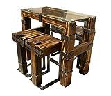 CHYRKA® Esstisch Wohnzimmertisch DROHOBYCZ Hocker Loft Vintage Bar IndustrieDesign Handmade 120x60cm Holz Glas Metall (120x60 cm - Tisch+4Hocker)