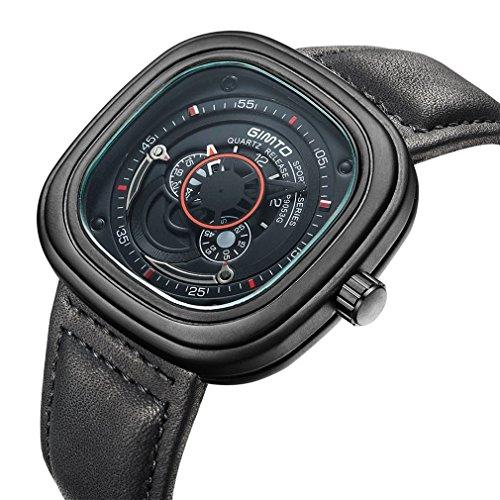 gimto Big Zifferblatt Quarz Sport Business Armbanduhr quadratisch Single Uhr für Herren