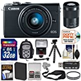Canon EOS M100 Wi-Fi Digital ILC Camera & EF-M 15-45mm & 55-200mm IS STM Lens (Black) with 32GB Card + Battery + Backpack + Filters + Flex Tripod + Strap + Flash + Kit