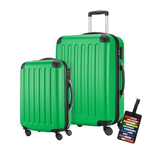 HAUPTSTADTKOFFER® · 2er Hartschalen Kofferset · Modell: SPREE · Handgepäck 49 Liter + Reisekoffer 82 Liter · in verschiedenen Farben + DESIGN KOFFERANHÄNGER (Apfelgrün)