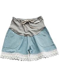 Keephen Pantalones cortos de mezclilla de maternidad de verano pantalones casuales de encaje de las mujeres (XL)