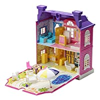 Sairis DIY Doll House With Furniture Miniature House Luxury Simulation Dollhouse Assembling Toys For Kids Children Birthday Gifts(Purple)