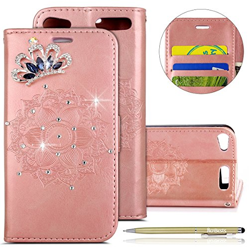 Herbests custodia per ipod touch 6, cover ipod touch 5 portafoglio in pelle [supporto stand] [carte slots] caso con brillantini diamante corona imperiale glitter strass disegni leather wallet cover