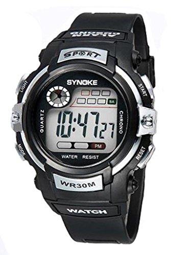 Orologio da polso per bambini tondo orologio digitale con cronometro cronografo allarme e luminoso - argento