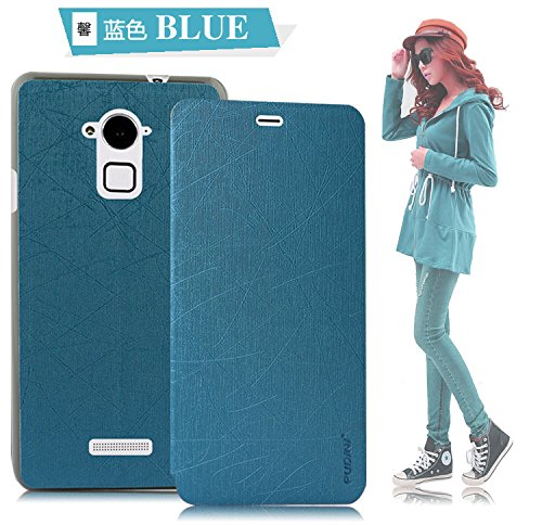 GoRogue Pudini Rain PU Leather Slim Flip Cover Case with Convertible Back Stand for Coolpad Dazen Note 3 (Blue)