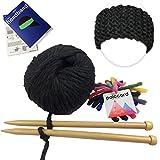 Kit Tricot Débutant & Débutante - Kit pour Tricoter un Headband en Grosse Laine - Aiguilles à tricoter bois 15mm - Kit de Tricot Bandeau Cheveux 100% Grosse Laine du Pérou: Gris Noir