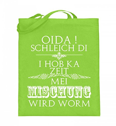 Hochwertiger Jutebeutel (mit langen Henkeln) - OIDA,I hob ka ZEIT Mischung Lime Green