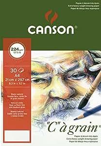 Canson 'C a grain' Blocco Carta Da Disegno 30fogli 224g grana fine bianco naturale 21 x 29,7 cm - A4 bianco naturale