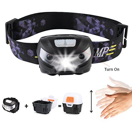Stirnlampe LED, Kopflampe USB Aufladbar Handbewegung Induktion Scheinwerfer Comfort Beleuchtung Sensor Licht, Wasserdicht Stirnlampe für Camping, Bergsteigen, Klettern, Abenteuer, Inklusive USB Kabel