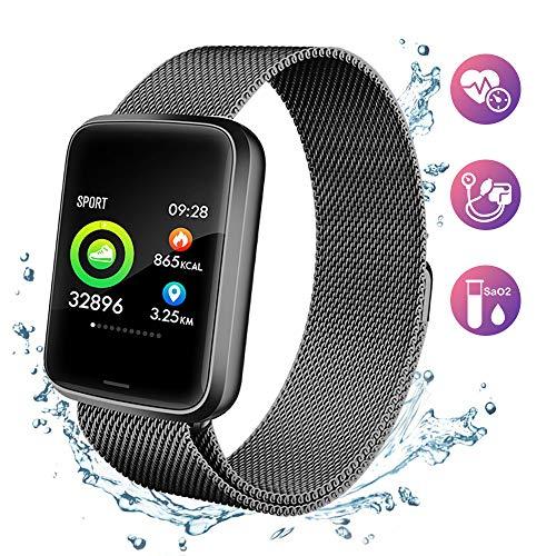 Lintelek NEU Fitness Armband HR Fitness Tracker Pulsuhren Sportuhr Farbbildschirm Blutdruck Vibrationsalarm Anruf SMS Whatsapp kompatibel mit iPhone Android Aktivitätstracker für Damen Herren Gift